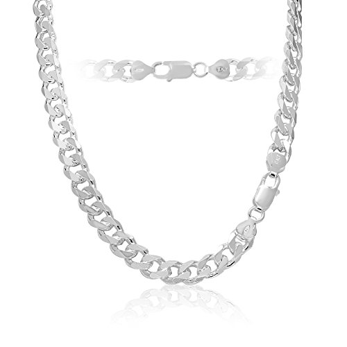 8mm 925 Sterling Silver Cuban Curb Link Chain Necklace 18 inch