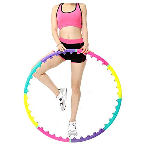 Ueasy Weight Loss Magnet Hula Hoop 8 Segments Detachable for Adults Exercise Weight Loss Fitness Travel 4.4LB 2KG Exerciser Bonus Belly Blaster Waist Trimmer