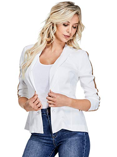 GUESS Factory Women's Analise Sequin-Stripe - White Guess Jacket