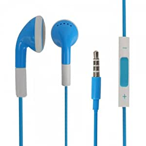 Blue 3.5mm Stereo Fashion Earphone Headsets with Volume Control & Microphone for Alcatel 4010D (By Things Needed)