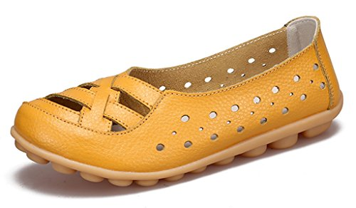 Labato Women's Leather Casual Cut Out Loafers Moccasin Driving Flats Slip-On Shoes Yellow-a