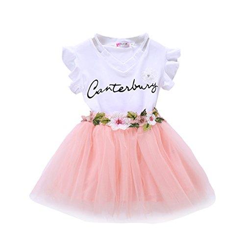 Baby Girls Gauze Dress Set Letter Print Shirt + Flower Applique Tutu Skirt Set Outfits (110/4-5 Years, Pink2)
