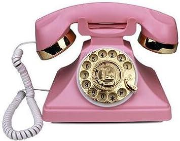 Nueva Europea antiguo dial rotatorio Creative Fashion tarjeta de oficina en casa teléfono fijo inalámbrico Retro Vintage: Amazon.es: Electrónica