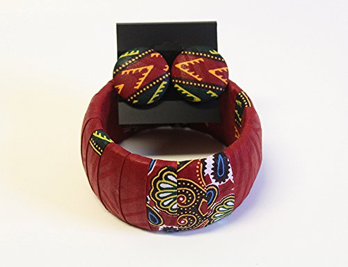 Dark Red Dashiki Jewelry Set Dashiki Bangle Dashiki Stud Earrings Afrocentric Dashiki Jewelry Set African Stud Earrings Dashiki Ankara Jewelry Orange African Dashiki Afrocentric Stud - Stud Bangle