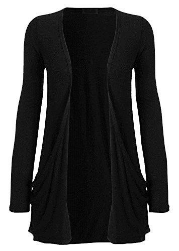Noir poches NEUF cardigan DIVA for haute Dames 26 longues 8 manches UK Uni bout ouvert pS6zqqwx