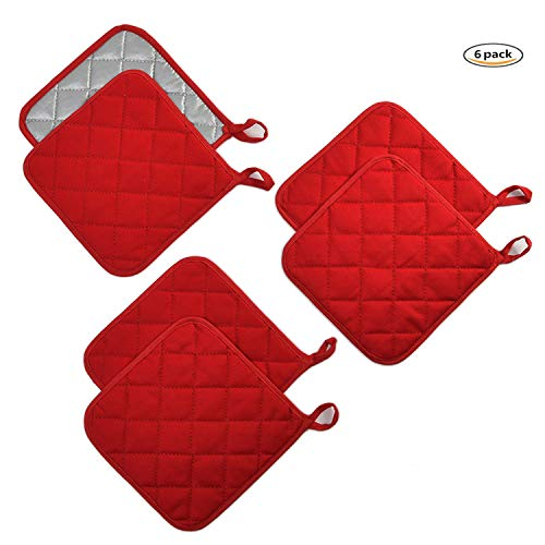 Jennice House Potholders Set Trivets Kitchen Pot Holders Heat Resistant Pure Cotton Coasters Hot Pads Pot Holders Set of 6 for Everyday Cooking and Baking by 7 x 7 Inch (Red)