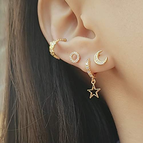Polished Finish Prong Setting Fine Jewelry Free Shipping Celestial Moon and Cloud Mix Match Earrings| Solid 14K Gold