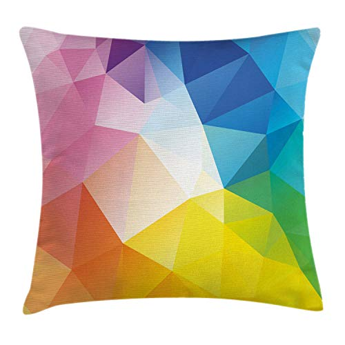 "Ambesonne Modern Throw Pillow Cushion Cover, Abstract Fractal Rainbow Colored Lines Polygonal Dimension Style Contemporary Design, Decorative Square Accent Pillow Case, 16"" X 16"", Pink Blue"
