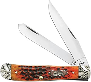 product image for Case 53225 Autumn Bone Handle Worked Bolster Standard Jig Trapper Knife