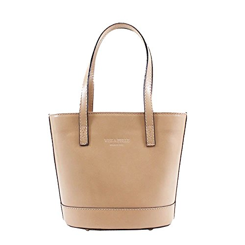 NEW BUCKET SHOULDER TWO Taupe LEATHER WOMENS VERA STYLE REAL BAG PELLE TONE U0rHqUn6