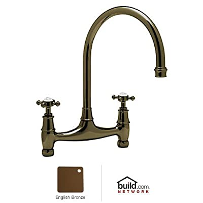 Rohl U.4790X-EB-2 Perrin and Rowe Double Handle Bridge Kitchen Faucet, English Bronze