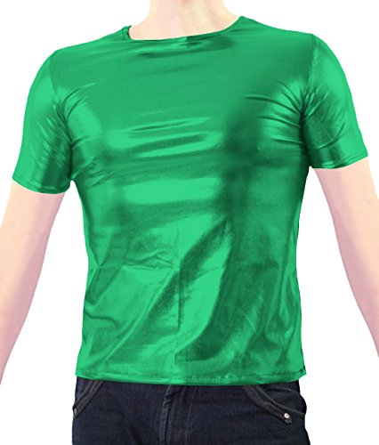 Marvoll Unisex Shiny Party Clubbing Dance Gay Stag / Hen T Shirt (X-Large, Green) (Real Spiderman Outfit)
