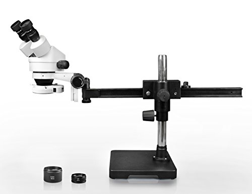 Parco Scientific Binocular Zoom Stereo Microscope, 10x WF Eyepiece, 0.7X-4.5X Zoom, 3.5X-90x Magnification, 0.5X & 2X Auxiliary Lens, Gliding Arm Boom Stand, 144-LED Ring Light with Intensity Control