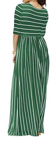Vita Strisce Alta Dell'oscillazione Pieghettato Il Tasche Cromoncent Verde Di Esercito Maxi Vestito Womens FEqx44