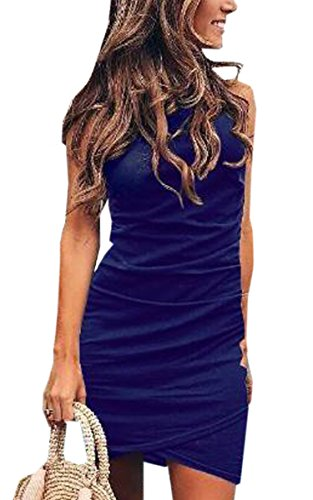 ECOWISH Women's Summer Casual Crew Neck Short Ruched Bodycon Irregular Hem T Shirt Mini Dress 106 Navy Blue L