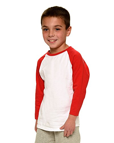 Monag Unisex 3/4 Sleeve Raglan Tee 6-12M White/Red (Infant Baseball Shirt)