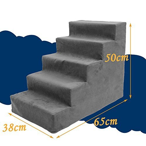 I-sport High Density Comfort Foam Easy Step Pet Steps 5-Steps Pet Stairs Ramp Ladder to get on High Bed for Dogs Cats Dog Training Ramp