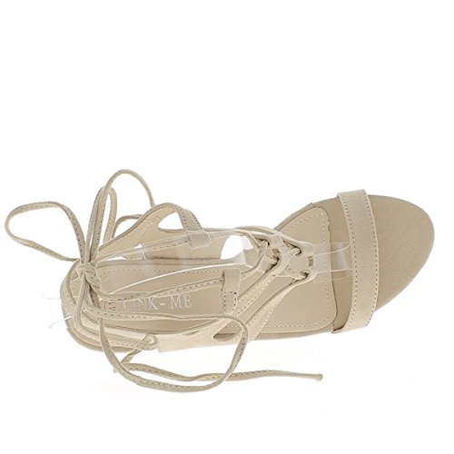 Sandalias de gran tamaño beige con cordones de tacón de 10cm aspecto ante
