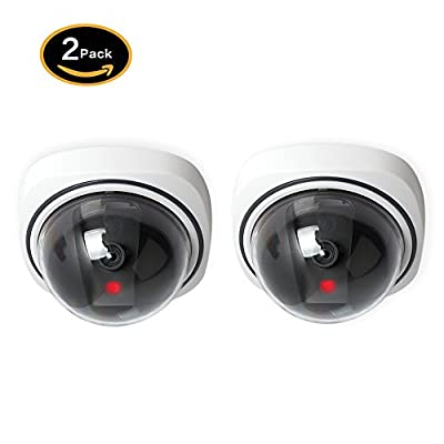 Fake Security Camera 2 Pack Simulated Surveillance Dome Dummy Cameras with LED Light Blinking for Home CCTV Outdoor or Indoor Use from Yeskam Technology Co.,LTD