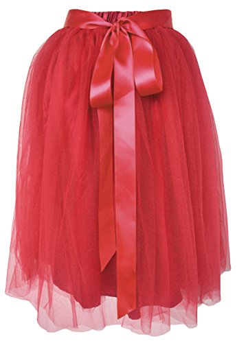 Dancina Women's Knee Length Tutu A Line Layered Tulle Skirt Red Plus (Size 12-24) by Dancina