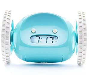CLOCKY the Original Runaway Alarm Clock on Wheels: Get Out of Bed and Wake Up on Time with Programmable Snooze   Jumps Off Night Stand and Rolls Away (Extra Loud for Heavy Sleepers), Aqua