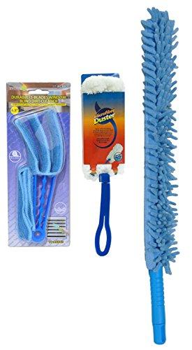 Best Blue Microfiber Flexible Fan Duster Venetian Blinds Plantation Shutters Mini Blinds Blind Duster Spring Cleaner Set (Style3)
