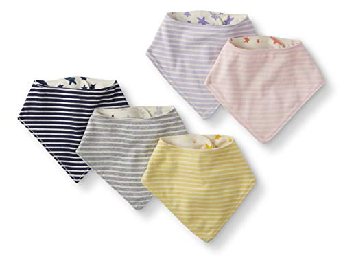 Moon and Back by Hanna Andersson Baby 5-Pack Organic Cotton Reversible Bib, Pink, One Size from Moon and Back by Hanna Andersson