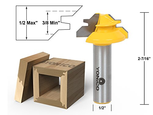 Yonico 15129 Small Lock Miter Router Bit with 45-Degree 1/2-Inch Stock 1/2-Inch (Joint Router Bit)