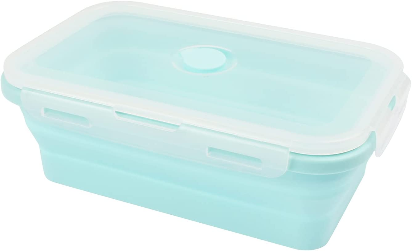 KUFUNG Collapsible Silicone Food Storage Container Stackable - Space Saving   Microwaveable   Freezer, Dishwasher Safe  BPA Free Collapsible Leftover or Meal Prep Lunch Box Containers (Blue, 800ml)