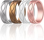 ThunderFit Silicone Wedding Bands for Women, Infinity Design - 6mm Wide - 1.8mm Thick