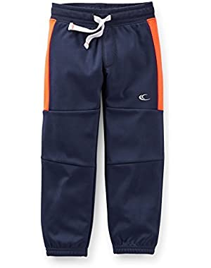 Baby Boys' Tricot Active Pants - 12 Months - Navy with Orange Stripe