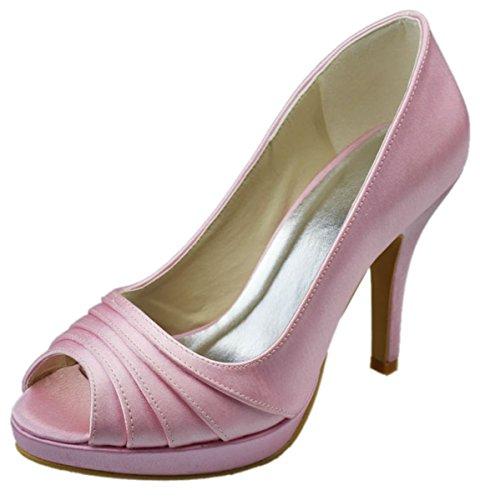 Minitoo GYAYL011 Womens Stiletto Heel Open Toe Satin Evening Party Bridal Wedding Platform Shoes Sandals Pink zPTvuZa