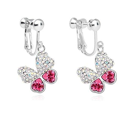 - Latigerf Women Butterfly Screw Back Clip on Earring Non-Pierced Swarovski Elements Crystal Red