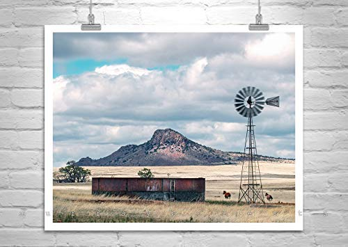 Horse Picture, Western Landscape Print, Horse Ranch Print with Windmill