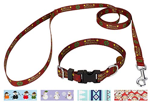 - Country Brook Petz - Merry Christmas Deluxe Dog Collar and Leash Set- Christmas Collection with 11 Designs (1/2 Inch, Extra Small)