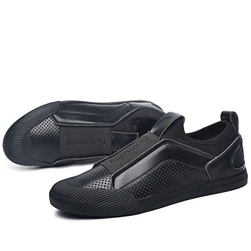 VILOCY Herren Atmungsaktiv Leder überstreifen Schuhe Mode Sneaker Halbschuhe Komfort Sport beiläufig Trainers Gold 41 GXblV