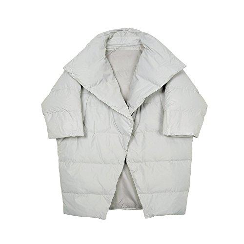 largo down de de de de En forma larga jacket pan un manga Gris con delgada capullo invierno hembra gráficos capa 6wqORg