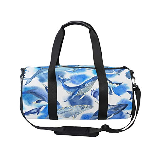 Sea Whale Yoga Sports Gym Duffle Bags Tote Sling Travel Bag Patterned Canvas with Pocket and Zipper For Men Women Bag by EVERUI (Image #1)