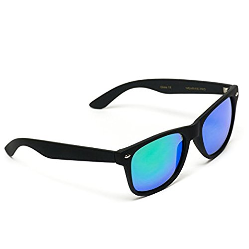 0f45bb766a5 Polarized Flat Mirrored Reflective Color Lens Large Horn Rimmed Style  Sunglasses (Mirrored Green)
