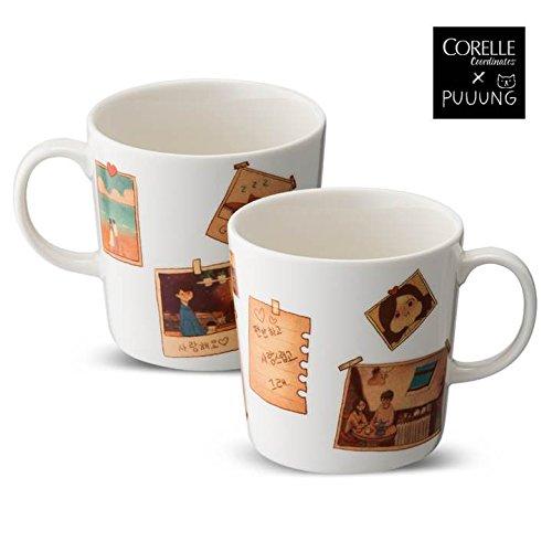 CORELLE Coordinates X PUUUNG Photo Mug Coffee Cup 10.8 oz 2p illustration artistic Mug Cup, Love is Grafolio (Coffee Cup Corelle)