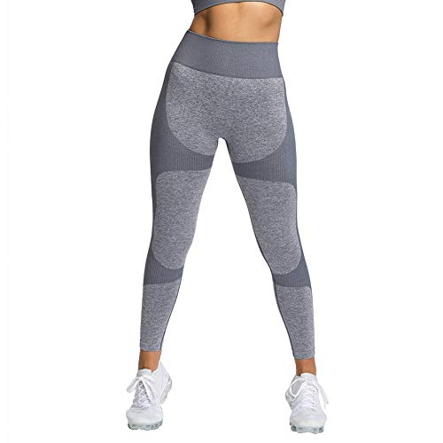 NanaDay Yoga Leggings for Women High Waist Tummy Control Workout Pants Seamless Compression Pants Squat Proof Tight(G-L) Grey