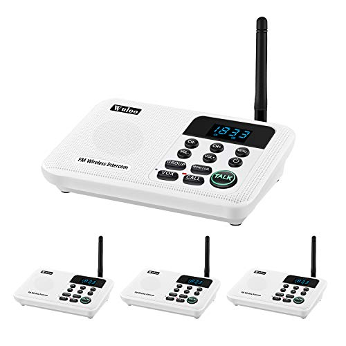 (Wuloo Intercoms Wireless for Home 1 Mile Range 22 Channel 100 Digital Code Display Screen, Wireless Intercom System for Home House Business Office, Room to Room Intercom Communication(4Stations White))