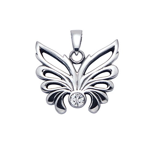 Stainless Steel Open Winged Butterfly Pendant w/Faceted Crystal -