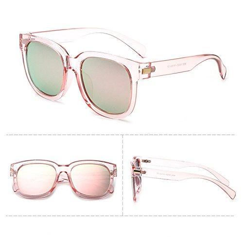 Sunyan Nouvelle série de lunettes de soleil polarisées élégant visage rond hommes Lunettes lunettes actrice coréenne 9836,poudre poudre Transparent frame film