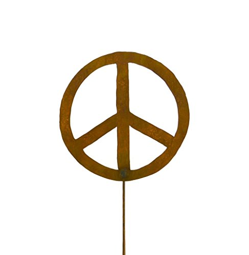 Peace Sign Rusty Metal Garden Stake -13""