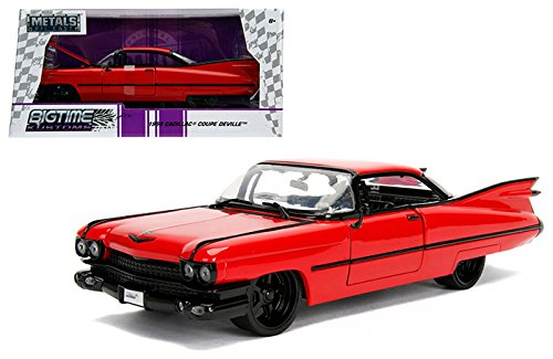 NEW 1:24 W/B JADA TOYS BIGTIME MUSCLE COLLECTION - 1959 Cadillac Coupe DeVille Red Diecast Model Car By Jada Toys