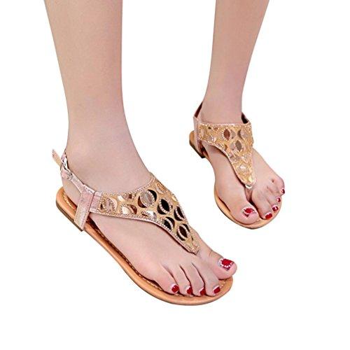 Bohemia Strap Flops Heel toe Flat Crystal Casual Ankle Donna Sandali Scarpe Rosa Open Gladiator Lady Roman Flip Buckle Hlhn qxfE8gA7