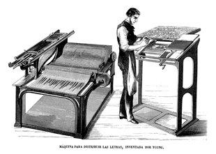 Grabado antiguo (1863) - Xilografía - Inventos.- Máquina Para Descomponer Textos Y