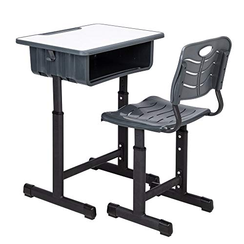 - Crazyworld Student Desk and Chair Set, Height Adjustable Children's Desk and Chair Workstation with Drawer and Hanging Hooks (Grey+Black)