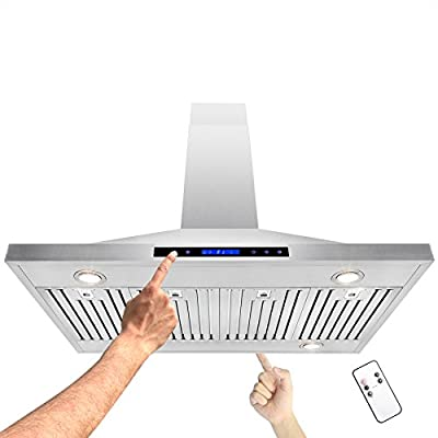 """AKDY 48"""" Island Mount Stainless Steel Touch Screen Timer Display Light Powerful Motor Kitchen Cooking Range Hood"""
